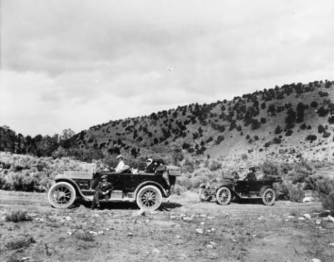Two cars on their way to Taos
