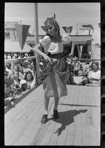 Young girl dancing at Taos Fiestas 1940